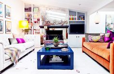 I love the deep couches and whimsical colors! 15 Chic Family-Friendly Living Rooms to Inspire You via @domainehome