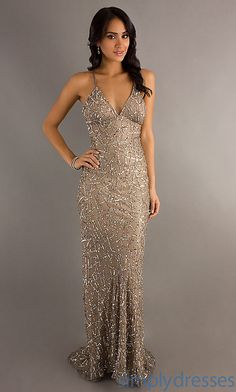 sequin v-neck gold champagne floor length wedding dress gown, or for any special occasion!!