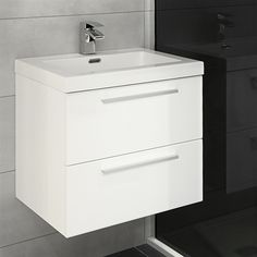 This distinctive Jordana Wall Hung Blum 2 Drawer Unit with Basin is finished in a stunning gloss white lacquer and is ideal for small bathrooms where storage is needed Bathroom Sink Vanity Units, Bathroom Layout, Bathroom Storage, Sinks, Bathroom Ideas, Wall Mounted Basins, Wall Hung Vanity, Shower Cubicles, Drawer Unit