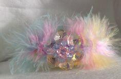 Marabou Feather/Handmade Slap Bracelet/Fairy Kei/Marabou Fluff/Pastel/Cuff Bracelet/Wristlet/Crystal Aurora Borealis Beaded Flower/Rainbow Prisim/OOAK by icusuezq on Etsy