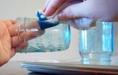 How to make permanently blue Mason jars which will stay blue even if washed in the dishwasher! . From Love, Pomegranate House: DIY Blue Mason Jars