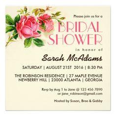Vintage Flower Pink Rose Bridal Shower #Invitation #bride #wedding #floral