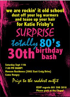 Printable Birthday Invitation  Totally 80's Party by inkddesigns