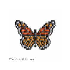 Monarch Butterfly Pendant peyote pattern 2 by NaturalWondersbyCari