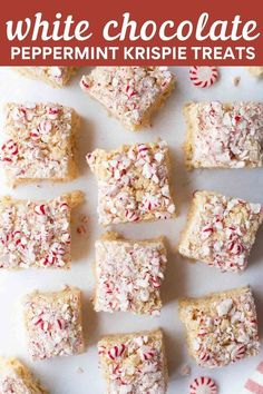 Make Christmas Rice Krispie Treats for the holidays! This festive recipe uses white chocolate and peppermint for an easy, fun treat. Perfect for cookie exchanges, parties and gifts! Holiday Treats, Christmas Treats, Christmas Goodies, Best Gluten Free Desserts, Delicious Desserts, Gluten Free Christmas Cookies, Christmas Rice Krispies, Rice Krispie Treats, Dessert Platter
