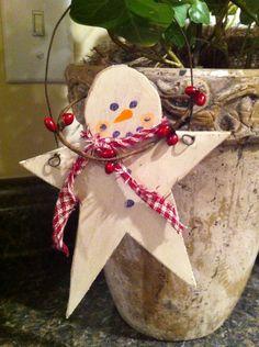 Primitive snowman ornament made by Tammy's Primitives