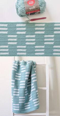 Free Pattern - Crochet Checkerboard Lines Blanket - Free Crochet Pattern in Red Heart Soft by Daisy Farm Crafts Crochet Afghans, Afghan Crochet Patterns, Baby Blanket Crochet, Crochet Stitches, Knitting Patterns, Knit Crochet, Crochet Blankets, Free Knitting, Puff Blanket
