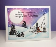 Christmas Cottage, Prancers: Penny Black, OLC, one layer card, winter, by beesmom at splitcoast