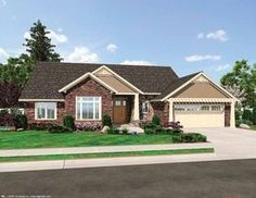 Craftsman Ranch House Plan 3 Bedrm, 1791 Sq Ft Home Craftsman Ranch, Craftsman Exterior, Craftsman Style House Plans, Ranch House Plans, Stone Exterior, Craftsman Houses, Ranch Exterior, House Plans One Story, Best House Plans