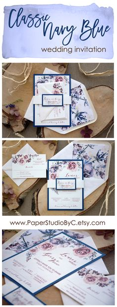 This new invitation reflects the passion for nature, roses, and navy blue. This combination its so pretty and we love it.