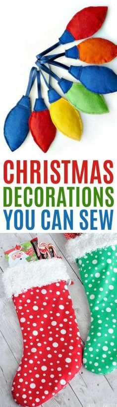 Pull out your  sewing machine, because we have found some amazing Christmas Decorations You  can Sew! From pillows to banners and ornaments to stockings, there are some  amazing holiday decoration ideas here that you're going to love! #sewing  #sewingideas #sewingprojects #easysewingideas #sewingprojectsforbeginners  #sewingforbeginners   #diychristmasideas #diychristmasdecor #diychristmasgiftideas #christmascrafts  #christmaskidcrafts #diygiftideas #christmasdiy #christmascrafts