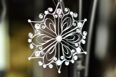 Handmade Silver Quilled Snowflake Christmas Ornament or Decoration on Etsy, $8.00
