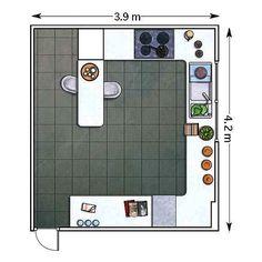 25,42 m²: Una barra en una península