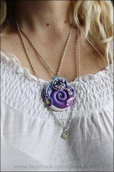 Spiral pendant polymer clay spirals liliac pendant by SweetlyART, $38.60