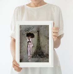 Eiffel Tower French Decor Wall Art Prints, French Woman Print French Script Paris Painting #FineArtPrints #FrenchDecor #WallHanging #EiffelTower #WallDecor #ParisPainting #FrenchEphemera #LivingRoomWallArt #LibraryDecor #WallArtPrints