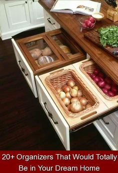 20+ Organizers That Would Totally Be in Your Dream Home {263060} #hidden #storage #hiddenstorage Excuse us while we fantasize about these next-level storage solutions. Smart Kitchen, Country Kitchen, New Kitchen, Kitchen Decor, Kitchen Ideas, Ranch Kitchen, Kitchen Updates, Narrow Kitchen, Awesome Kitchen
