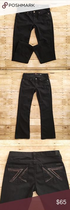 Black 7 For All Mankind Flynt jeans, size 29 Great condition 7 For All Mankind flynt jeans in a size 29, color black. The shimmering of the 7's on the back pockets, really makes these jeans pop! No flaws at all! Hardly worn. Inseam- 29 inches, rise- 8 inches, waist- 15 inches. If you have any questions, please ask at any time! 7 For All Mankind Jeans Boot Cut