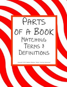 Have you taught your students all of the parts of a book TPT
