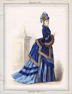 L'& Parisienne - November, 1874 Ooh la la . 1870s Fashion, Edwardian Fashion, Vintage Fashion, French Fashion, Historical Costume, Historical Clothing, Bts Mode, Belle Epoque, Victorian Costume
