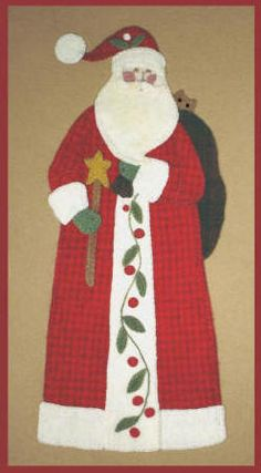 The Big Guy Himself-http://www.sandibard.com/catalog.php?category=10 Christmas Applique, Christmas Sewing, Christmas Pillow, Santa Christmas, Christmas Quilting, Christmas Crafts, Felt Applique, Wool Applique Patterns, Applique Quilts