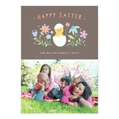 """hatched"" easter photo card 