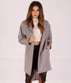 Lucinda-Oversized-Boyfriend-Wool-Coat-Jacket-AGJA17-Grey | You can wear this Gorgeous Coat over your fav leggings, skirt, dress, business work Pants.