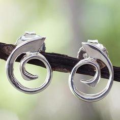 Sterling silver button earrings, 'Soulful' - Handcrafted Modern Sterling Silver Button Earrings