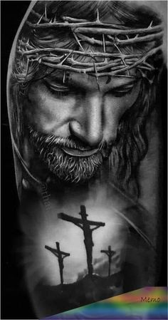 I think we all need to take a minute and Ask the Original Leader of the world for Help. Jesus Tattoo Sleeve, Religious Tattoo Sleeves, Sleeve Tattoos, Jesus Tatoo, Christus Tattoo, Jesus Tattoo Design, Jesus Drawings, Heaven Tattoos, Jesus Wallpaper