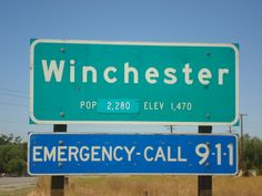 Winchester, CA : Population sign Emergency Call, Winchester, Signage, Supernatural, City, Novelty Signs, Winchester Rifle, Occult, City Drawing