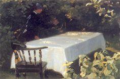 Mesa en el jardín  by Peder Severin Kroyer