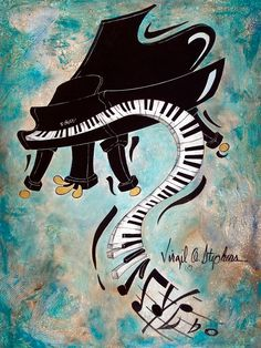 piano painting, music painting, music art, keyboard artwork Boogie Down artwork by Virgil C. Stephens