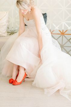 Love her red high heels! See more red and pink wedding ideas in this spring wedding style shoot by Catherine Ann Photography! http://www.thebridelink.com/blog/2014/03/27/pink-and-red-spring-wedding-ideas/