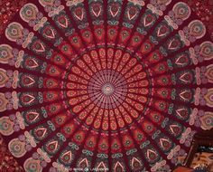 Maroon Tapestry Mandala http://www.shilimukh.com/product-category/tapestry-bedsheets