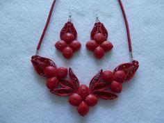 Piros cseresznye felnőtt ékszer szett.