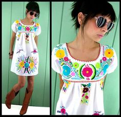White embroidered Mexican Dress... so, normally I wouldn't like this (color! print!), but it is really cute!