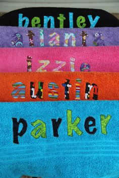So cute! Personalized Applique Towel. $23.00, via Etsy.