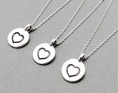 Heart necklace round pendant disc pendant pewter by casamoda