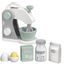 Kids Concept wooden food mixer set is perfect for pretend play kitchen and party. Features a mixer with mixing bowl, egg with york, sugar, flour and milk.