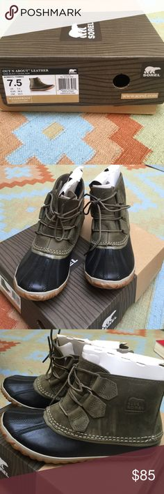 Sorel Out N About Sage/Black Leather Duck Boots Women's Sorel Out N About Leather Duck Boots in sage/black. Brand new, never worn, completely waterproof duck boots for the winter season. Boots do run small, I typically wear a 6.5-7 and the 7.5 fit perfectly. Sorel website is currently sold out of this super cute color: http://www.sorel.com/womens-out-n-about-leather-boot-1573351.html. No trades. Thanks for looking and happy shopping! Sorel Shoes Winter & Rain Boots