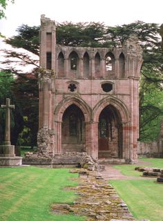 [Dryburgh Abbey ruins, near St. Boswells,Scottish Borders, Scotland along the River Treed. The abbey is the burial place of Sir Walter Scott and Field Marshal Earl Haig, the graves are situated through the arches. Abandoned Buildings, Abandoned Places, England And Scotland, Scotland Uk, Scotland Castles, Ancient Ruins, Place Of Worship, Scotland Travel, Kirchen