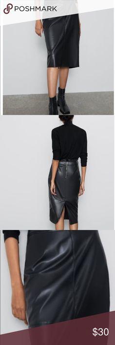 RSVH WZS Womens Ladies High Waist Faux Zip Leather Bodycon Pencil Skirt