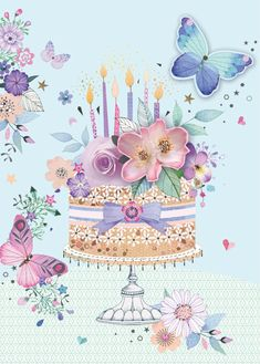 Leading Illustration & Publishing Agency based in London, New York & Marbella. Happy Birthday Greetings Friends, Happy Birthday Flower, Happy Birthday Beautiful, Happy Birthday Girls, Happy Birthday Pictures, Happy Birthday Messages, Birthday Cards, Images Vintage, Congratulations