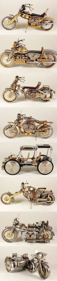 motor models made of  watch parts by Dmitry Khristenko