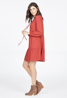 Lace Up Tiered Boho Dress Kleidung in CINNAMON - günstig kaufen bei JustFab