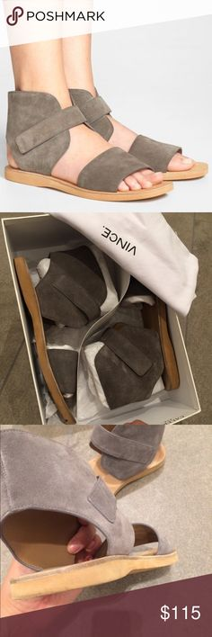 """Ankle strap sandals 0.50""""/15mm midsole (approximately) Open toe, wide toe band, ankle cuff with hook-and-loop strap Hook-and-loop closure Smooth leather lining. EVA sole. Only worn once. Comes with all original box and dust bag. Color is a beautiful light warm gray. Vince Shoes Sandals"""