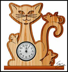 Cat and Mouse Clock Scroll Saw Pattern.