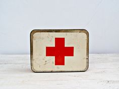 Red Cross First Aid tin Box, Vintage first aid kit box, collectible mid century houseware, Metal medical box, Cottage decor