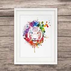 Tiger Head Art Watercolor Paint Home Decor Wall Hanging Art Picture Watercolor Art Paintings, Tiger Head, Hanging Art, Art Pictures, Decorative Plates, Wall Decor, Ink, Frame, Home Decor