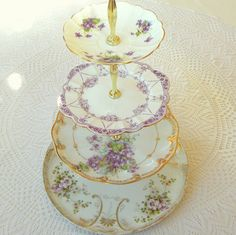 Alice in Violet, Large Purple 4 Tier Cupcake Stand of Vintage China w/Gold for Mini Wedding Cakes, Cookies, Dessert Display or Birthday Tiered Cake Stands, Tiered Cakes, Cupcake Centerpieces, Mini Wedding Cakes, Vintage Cake Stands, Dessert Stand, Cupcake Display, China Patterns, Cake Plates