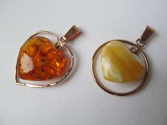 From Latvia Baltic Amber Cognac and butterscotch Yellow Honey Heart Pendant 1.37 14K Gold